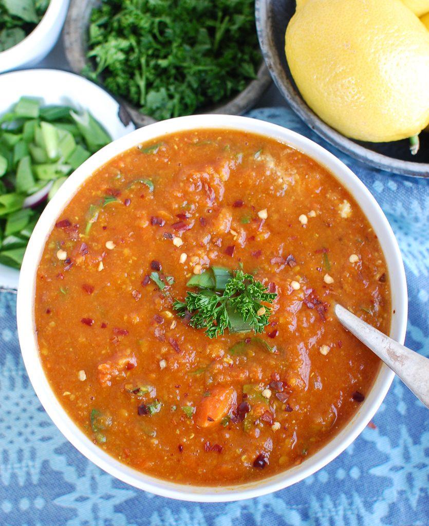 Slow Cooker Lentil Soup Above