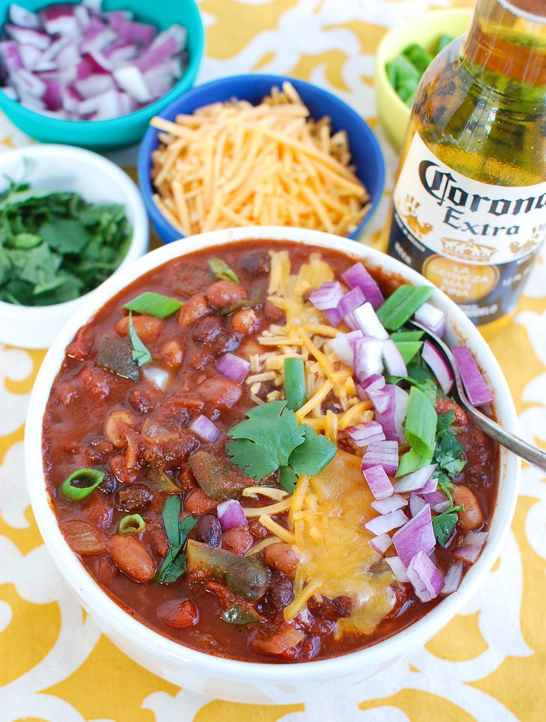 Slow Cooker Vegetarian Chili in white bowl