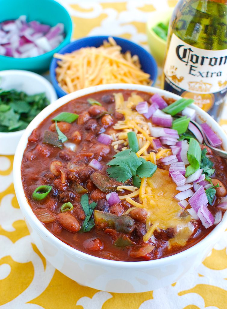 Slow Cooker Vegetarian Chili with cheese