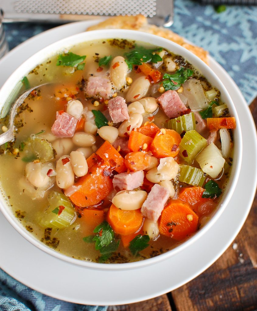 White Bean and Ham Soup with Spoon