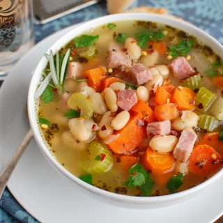 White Bean and Ham Soup White Bowl