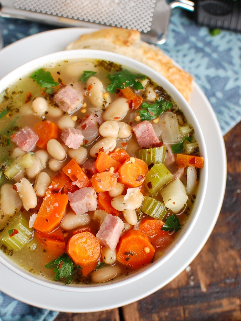 White Bean and Ham Soup with Bread