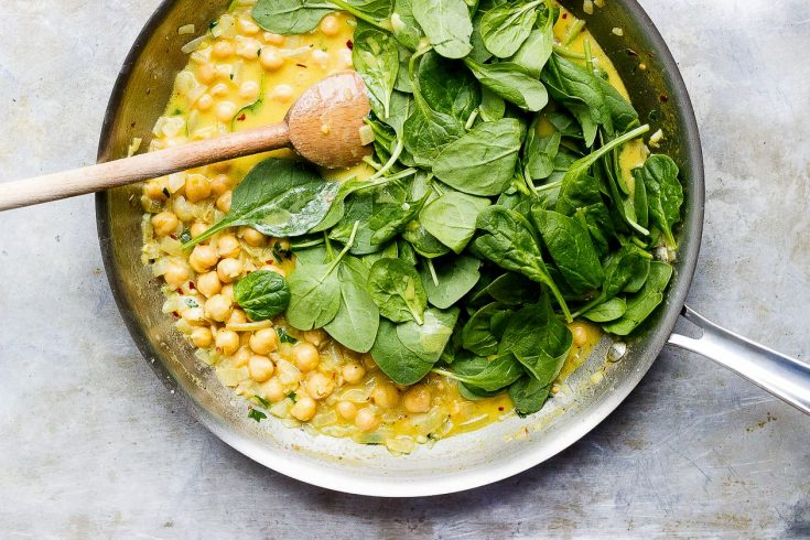 Coconut Curry Chickpeas with Wilted Greens