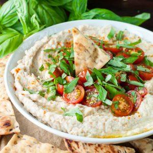 Tomato Basil Vegan White Bean Dip