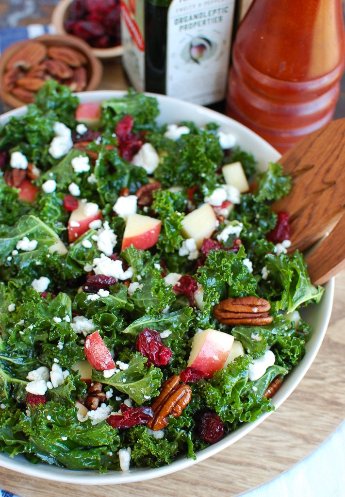 Kale Salad with Cranberries with apples