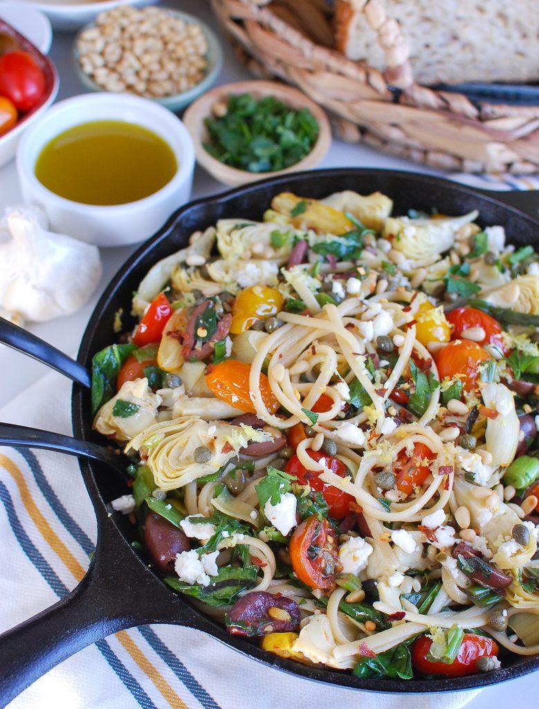 Mediterranean Pasta Skillet with Forks