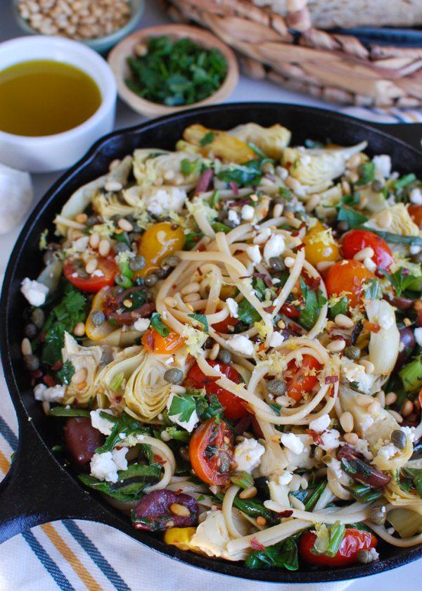 Mediterranean Pasta with skillet