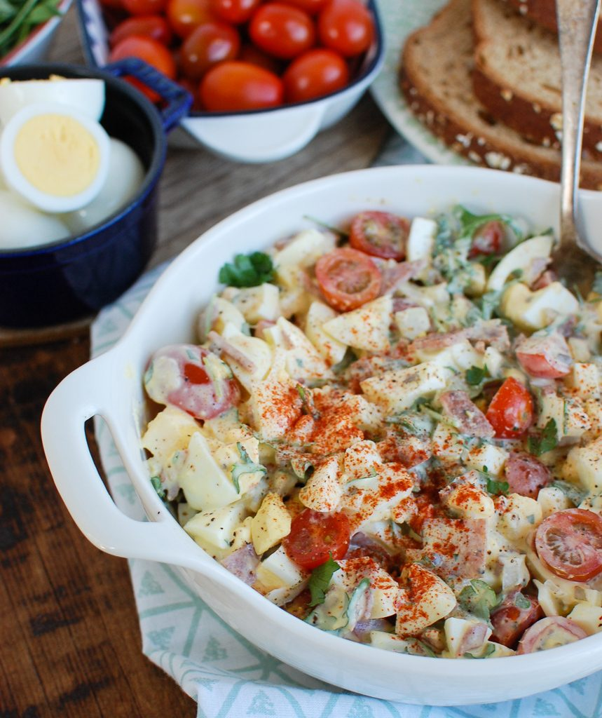 Bacon Egg Salad with spoon