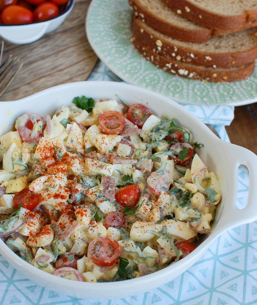 Bacon Egg Salad on Blue Napkin