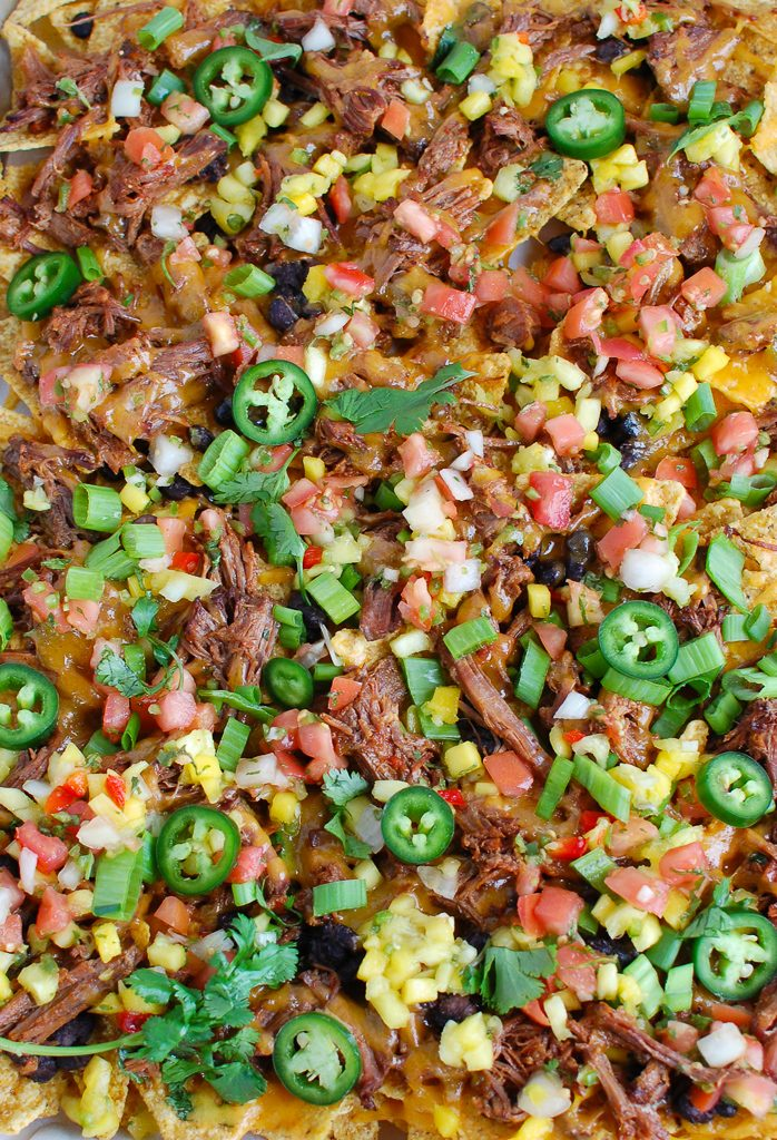 Beef Nachos on baking sheet