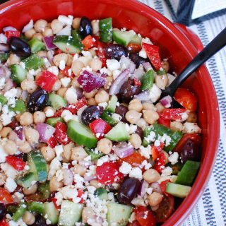 Greek Chickpea Salad red bowl