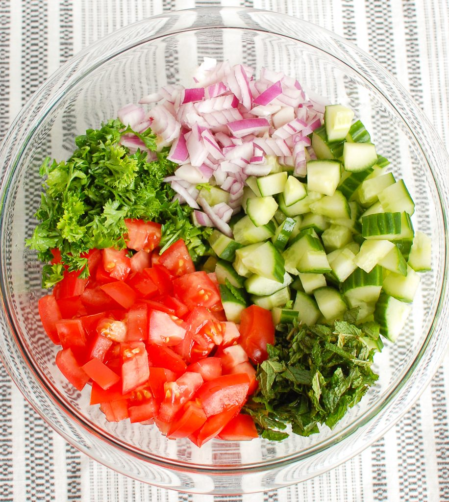Israeli Salad with Ingredients