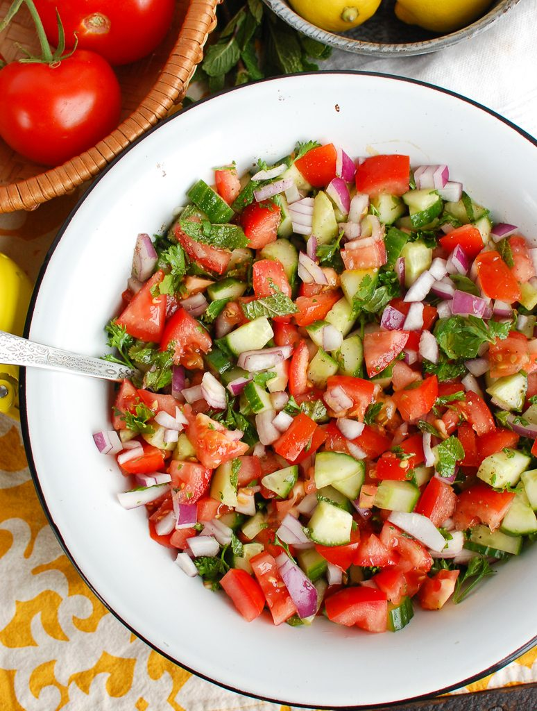 Israeli Salad with silver spoon