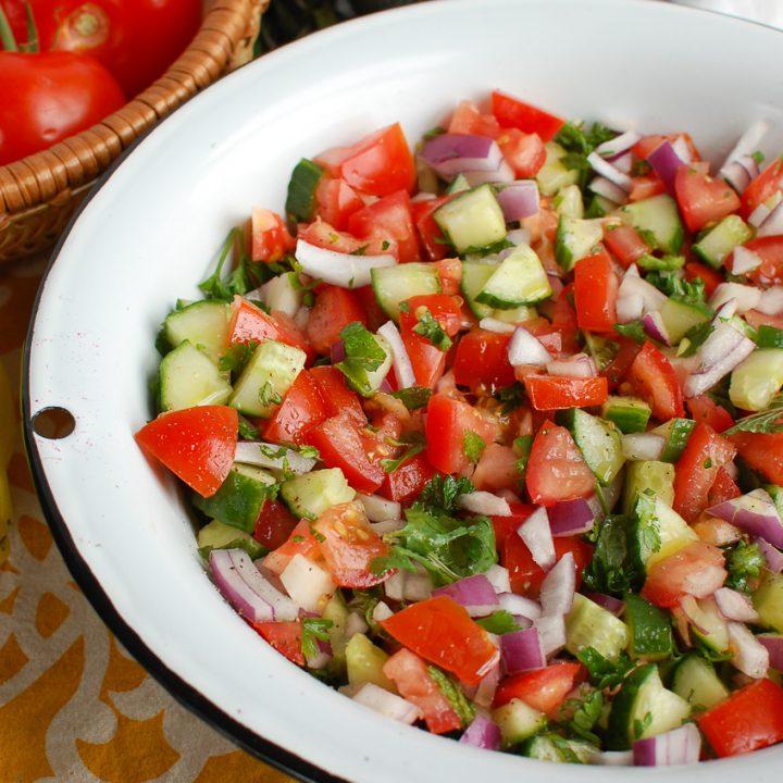 Israeli Salad in white bowl