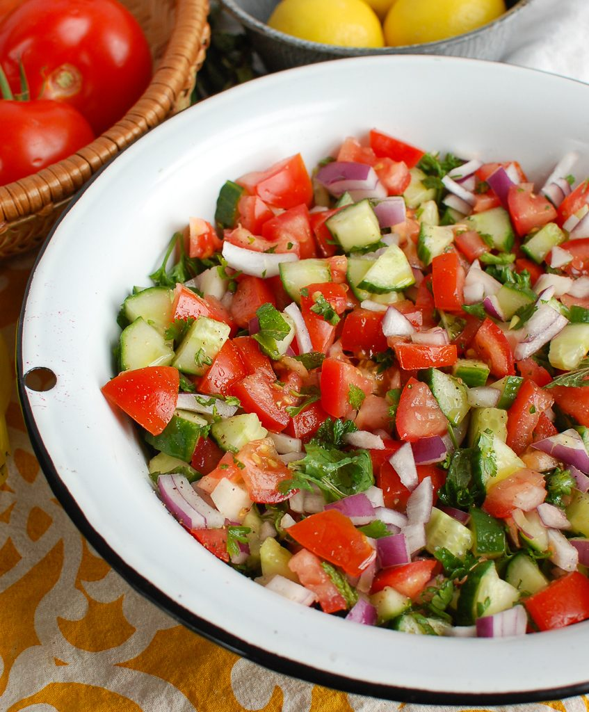 Israeli Salad in white bowl