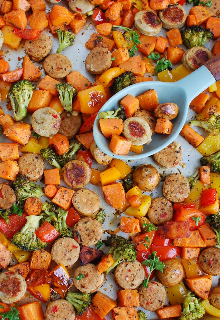 Sheet Pan Chicken Sausage and Vegetables with spoon