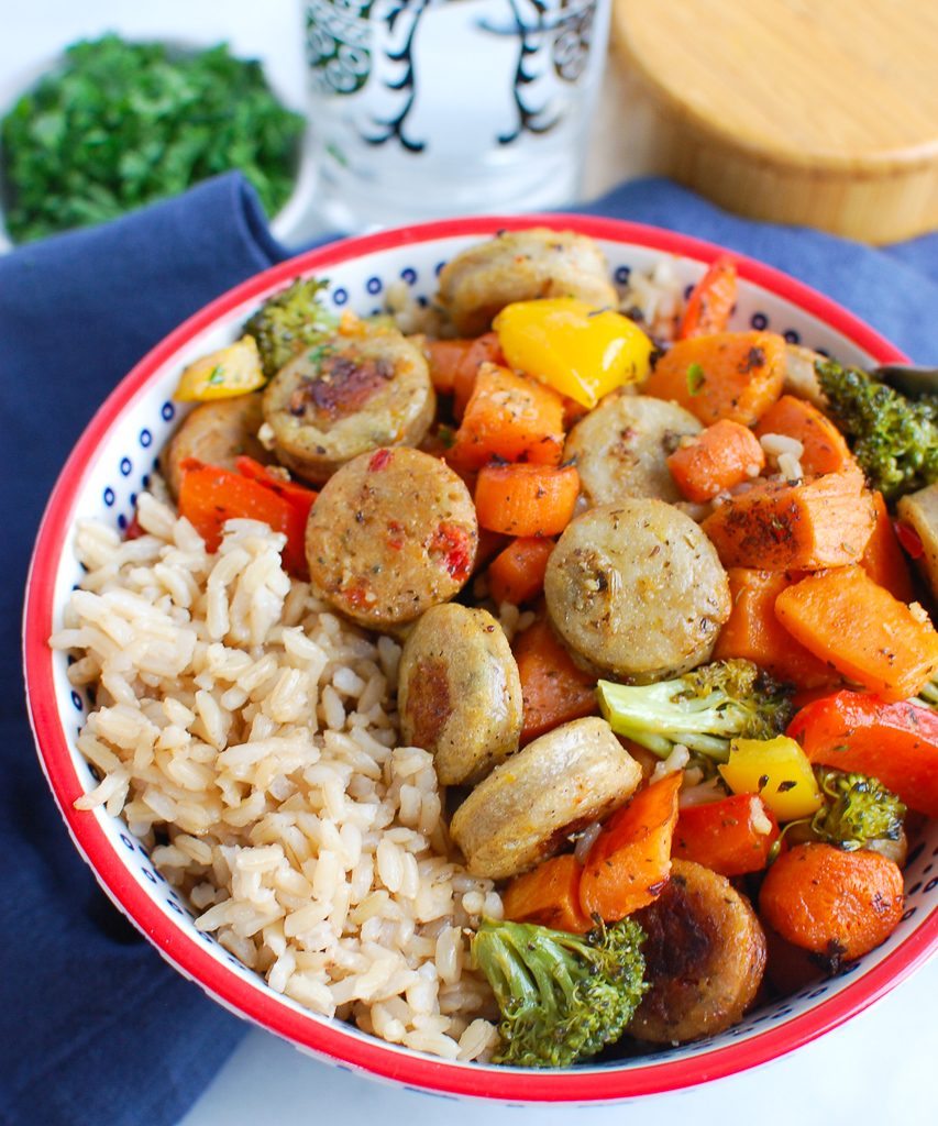 Sheet Pan Chicken Sausage and Vegetables in bowl