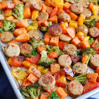 Sheet Pan Chicken Sausage and Vegetables on baking sheet