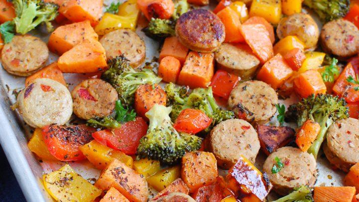 Sheet Pan Chicken Sausage and Vegetables on baking sheet