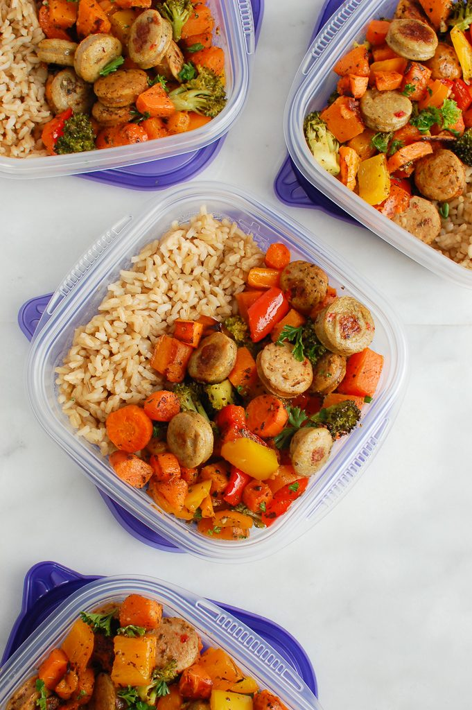 Sheet Pan Chicken Sausage and Vegetables in tupperware