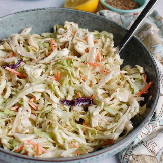 Best Coleslaw Recipe with spoon