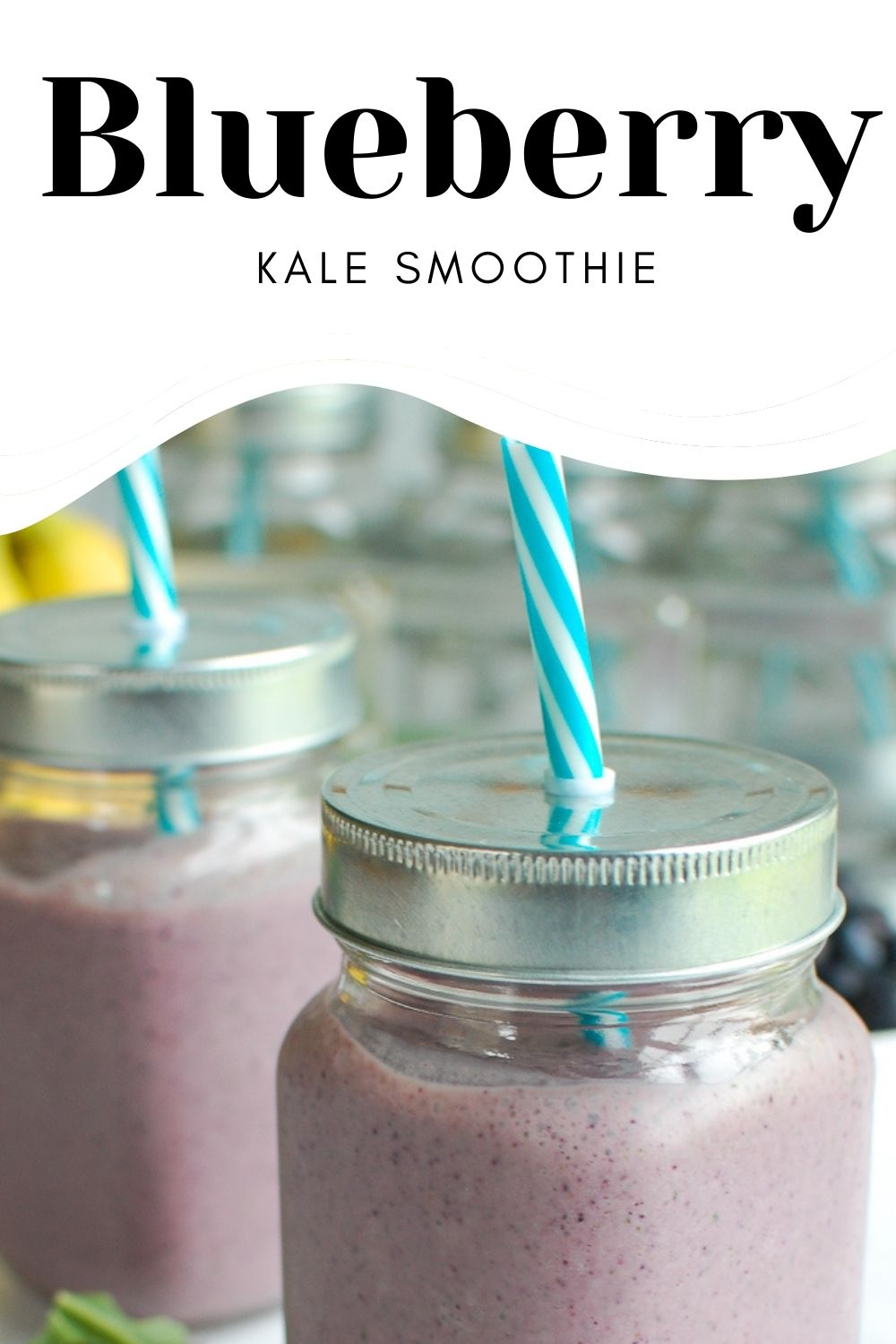 Blueberry Kale Smoothie with logo.