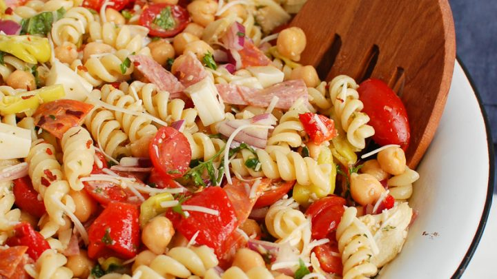 Italian Pasta Salad in white bowl