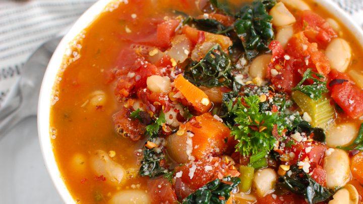 White Bean Soup in white bowl