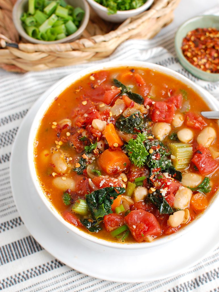 Simple White Bean Kale Soup with parsley