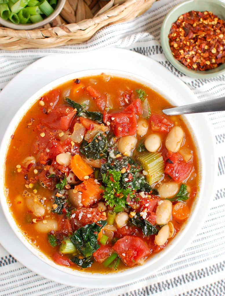 White Bean Kale Soup with Spoon