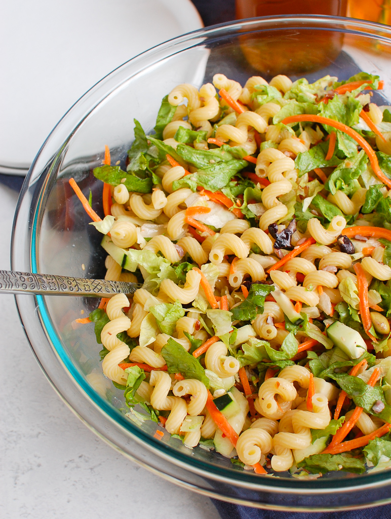 Asian Pasta Salad in clear bowl