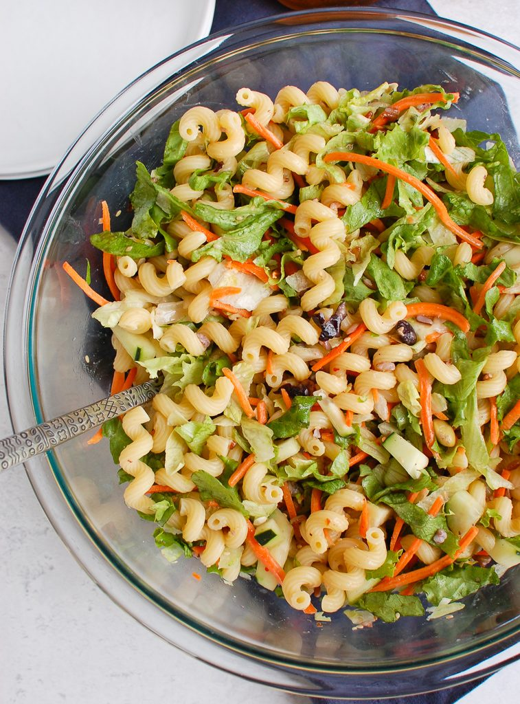 Asian Pasta Salad with spoon