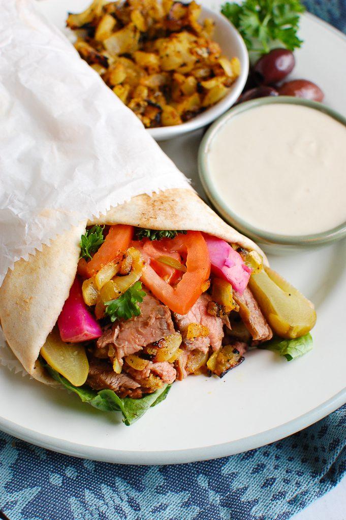 Beef Shawarma in pita
