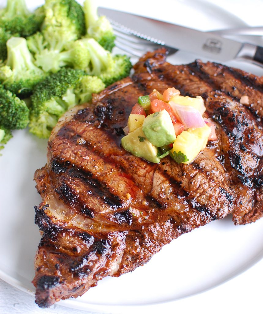 Grilled Ribeye with Avocado Salsa