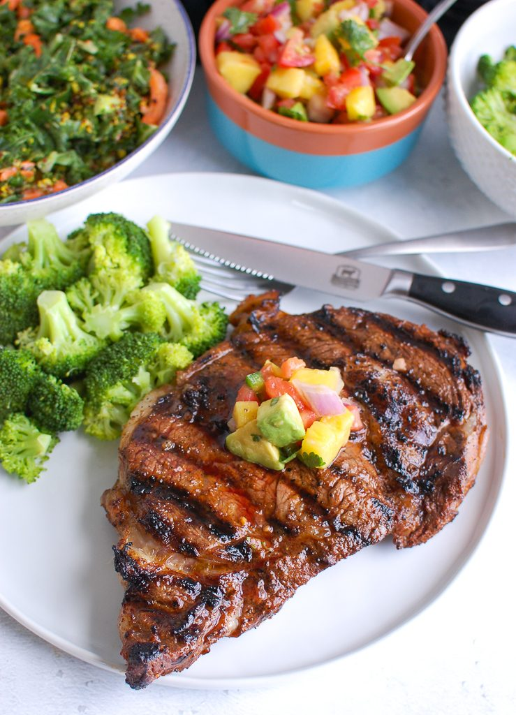 Grilled Ribeye with Broccoli