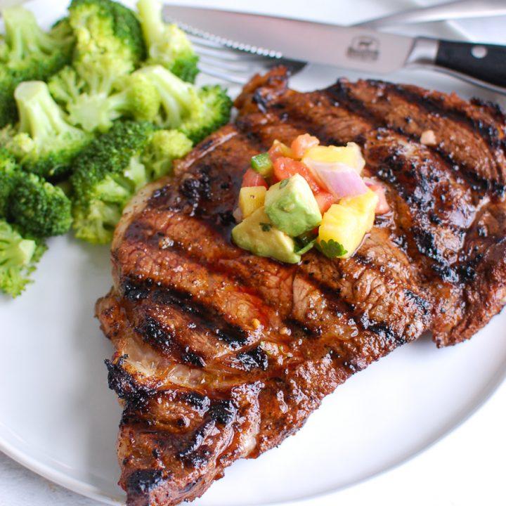 Grilled Ribeye Steak with Avocado Salsa