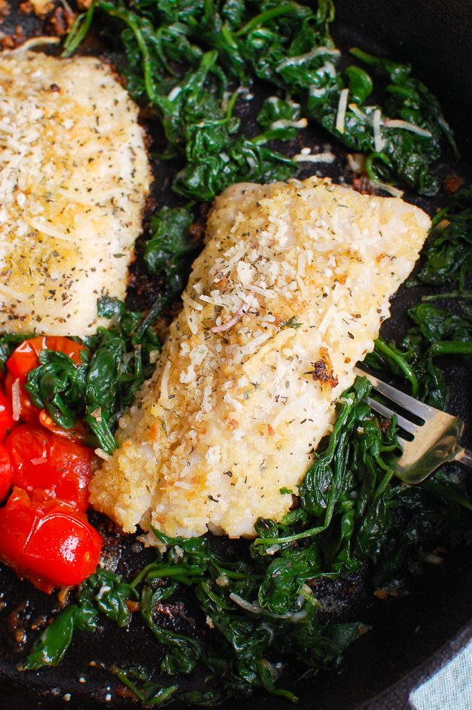 Black Sea Bass Recipe with spinach