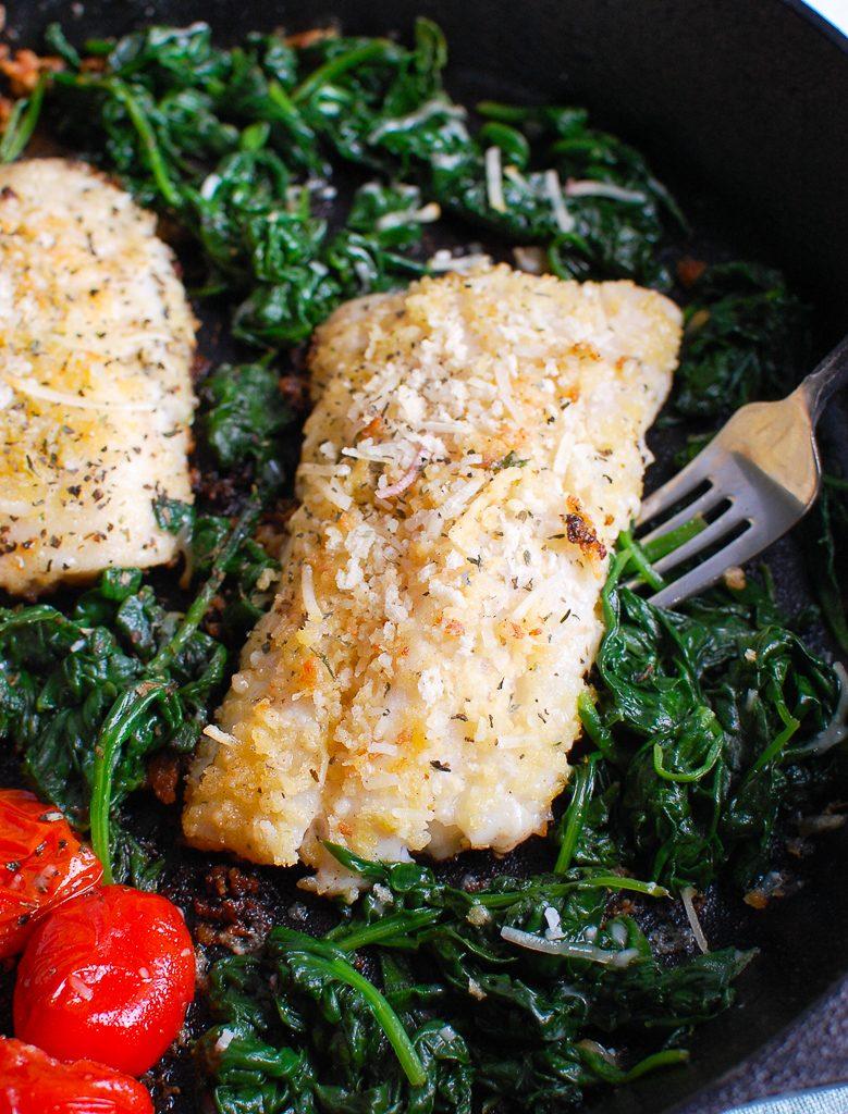 Black Sea Bass Recipe in skillet
