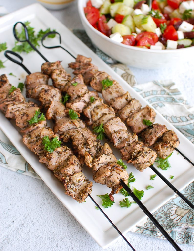 Pork Souvlaki with Tzatziki on a platter