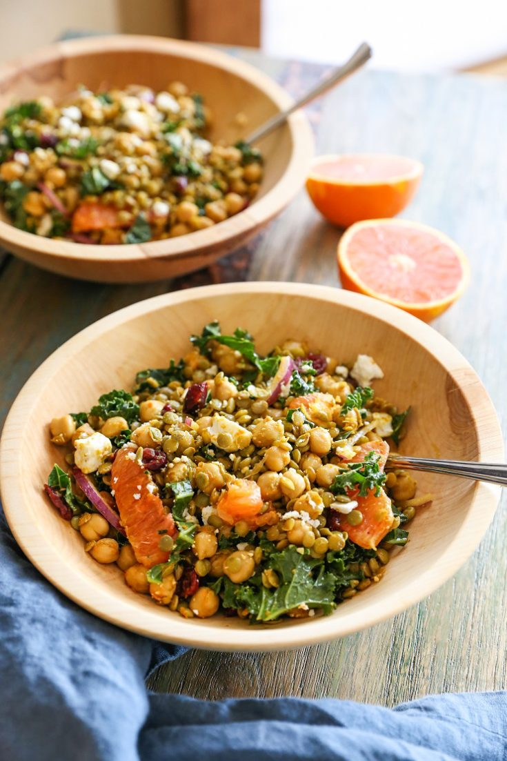 Curried Lentil, Chickpea, and Kale Salad with Citrus Dressing