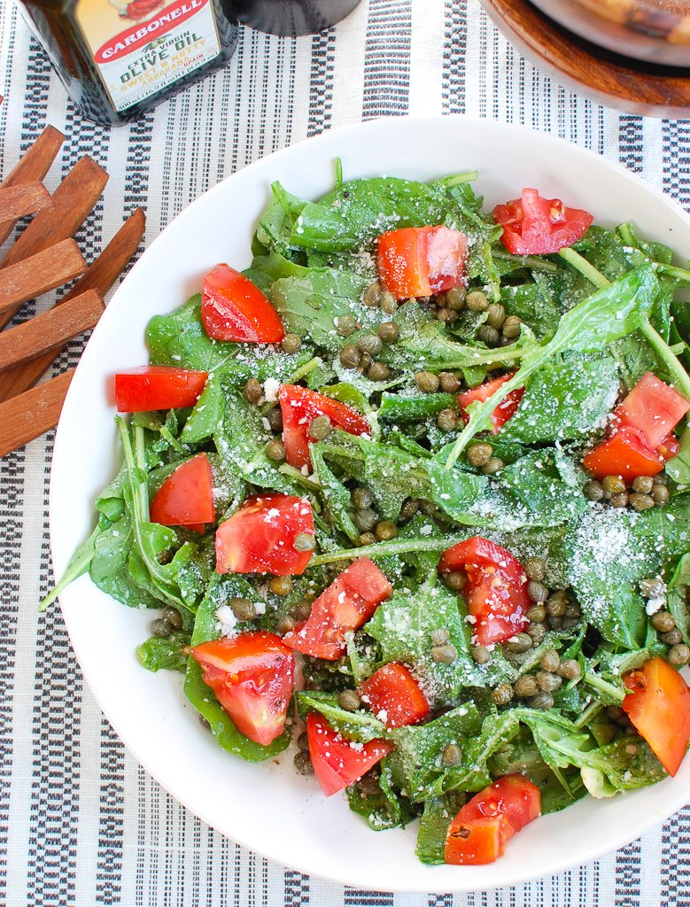 Arugula Salad with Capers with tomatoes