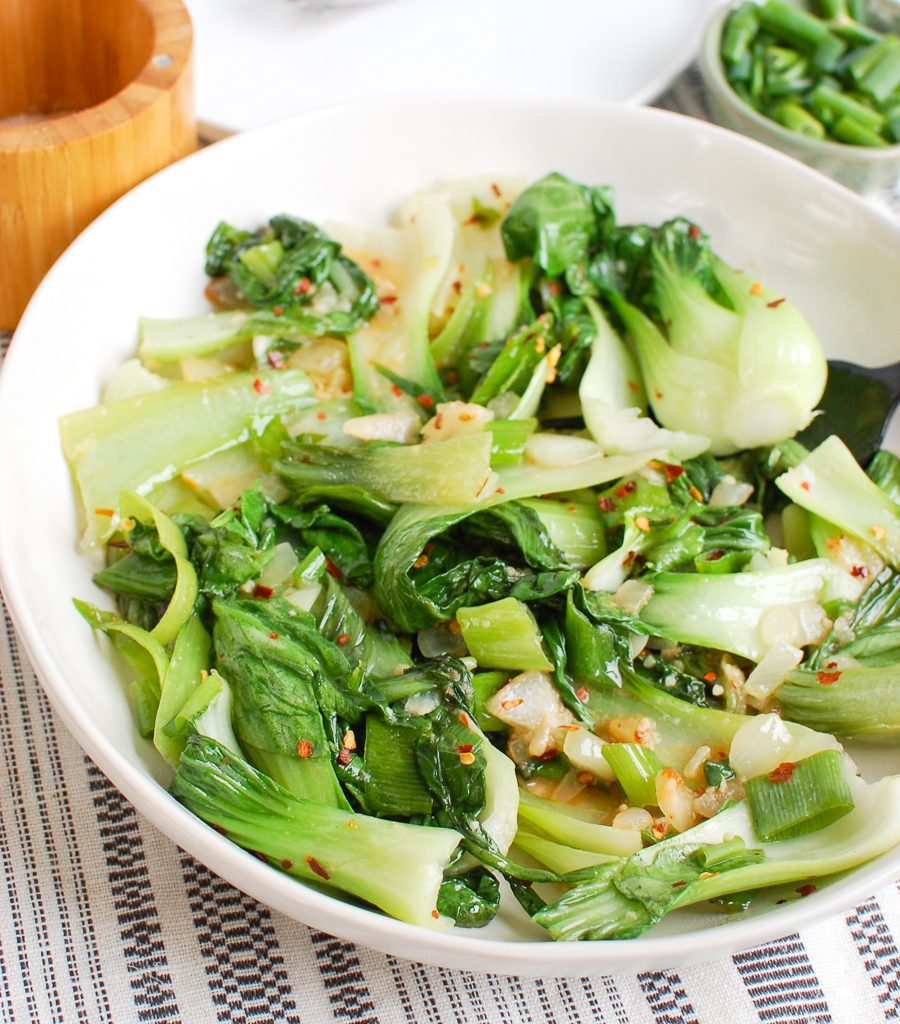 Easy Bok Choy Recipe with fork