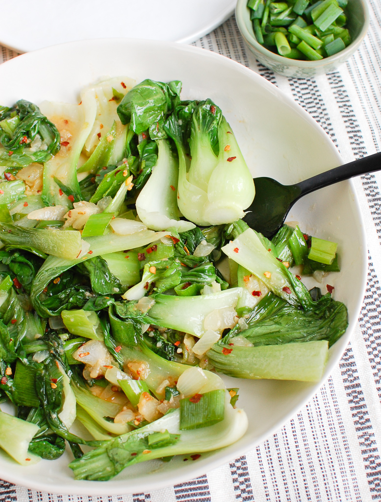 Easy Bok Choy Recipe in white bowl