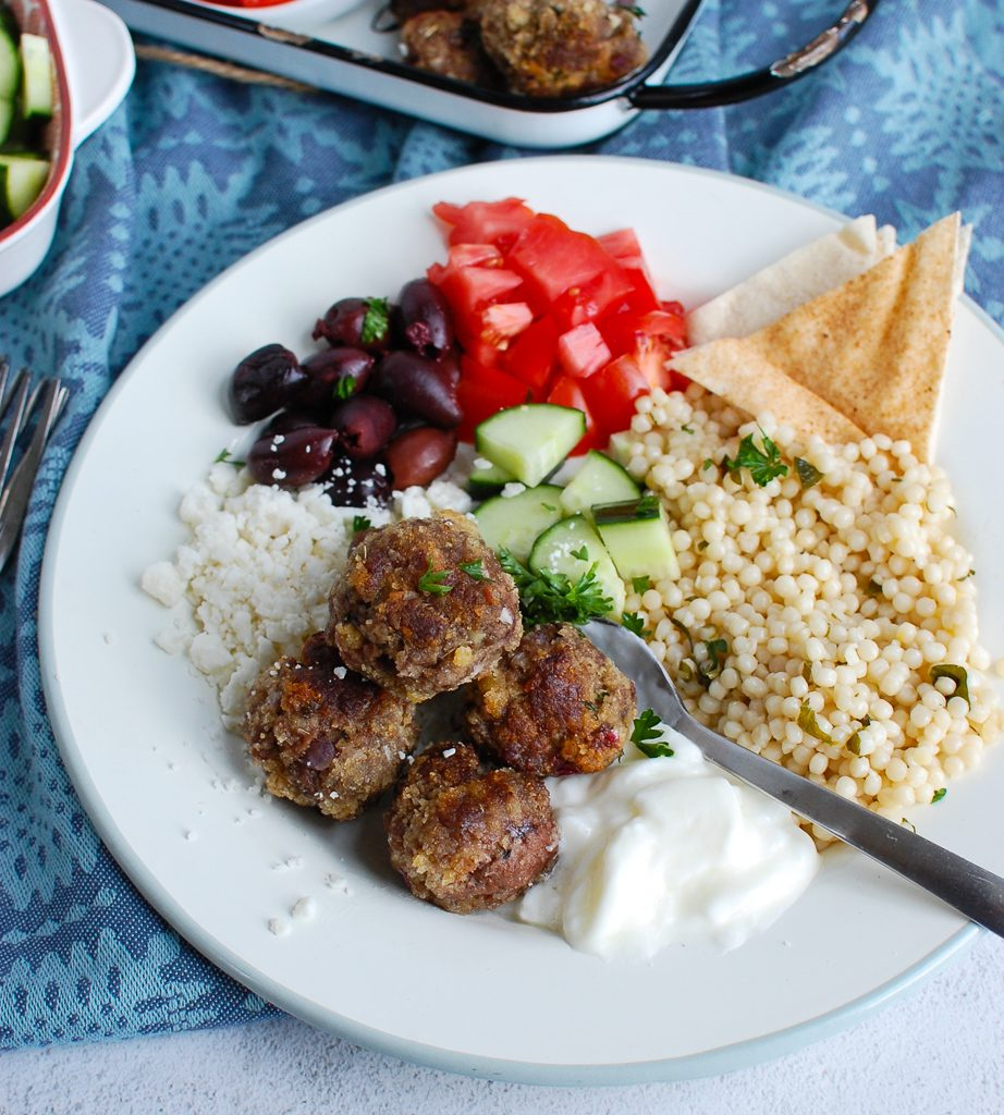 Greek Meatballs on a white platter