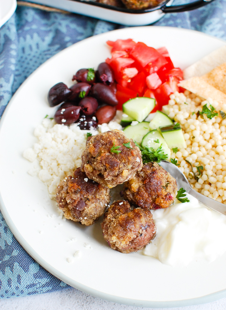Greek Meatballs on white plate