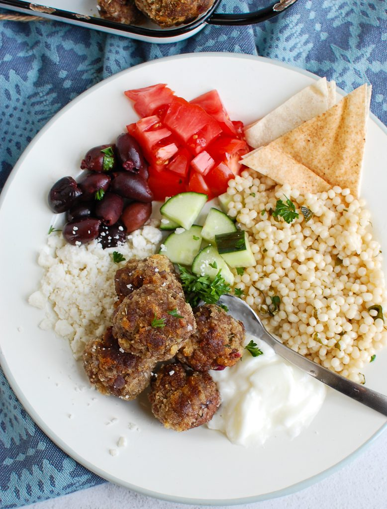 Greek Meatballs with spoon