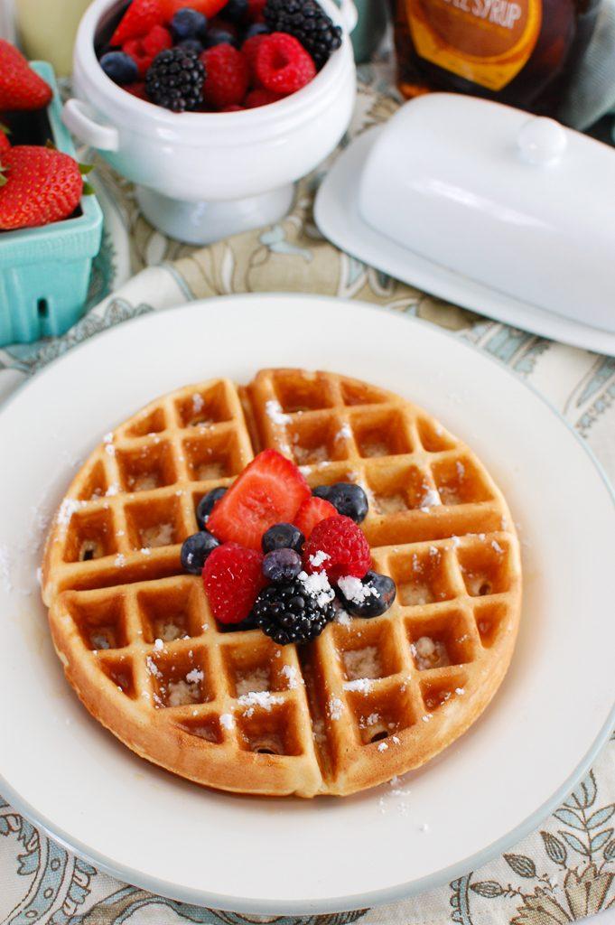 Greek Yogurt Waffles with powdered sugar