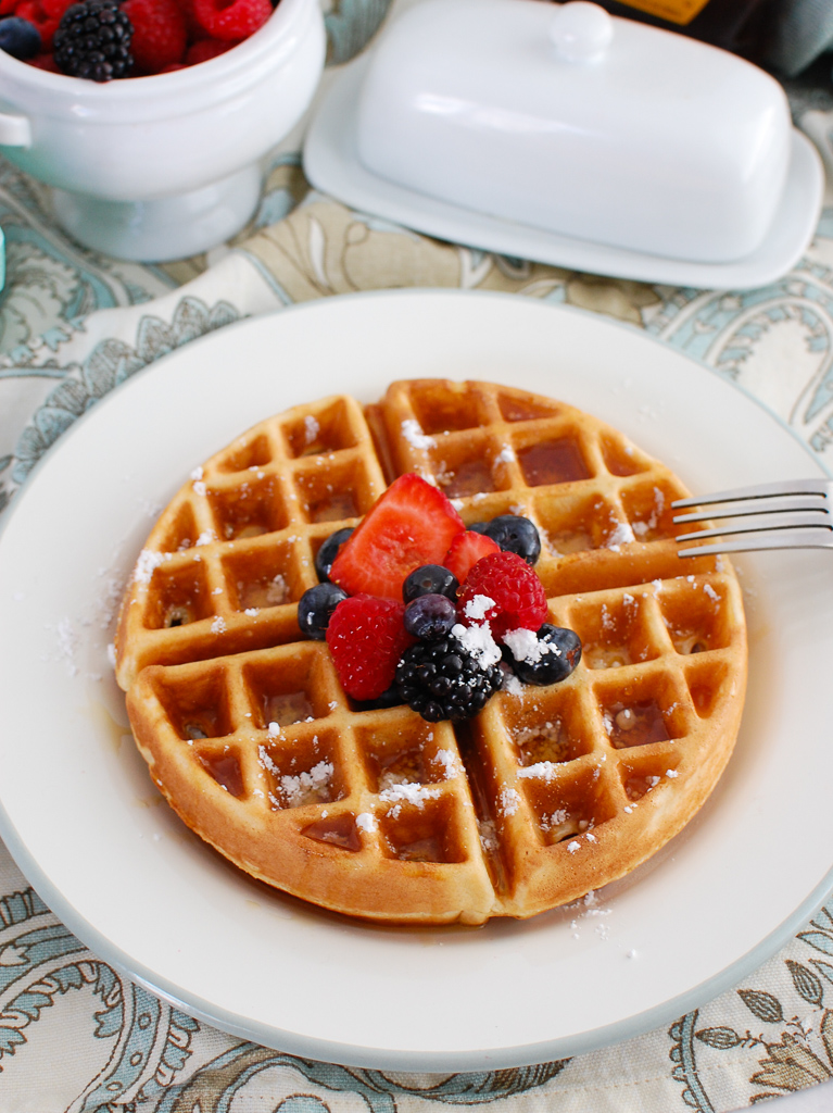 Greek Yogurt Waffles on white plate