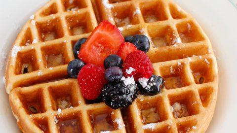 Greek Yogurt Waffles with syrup