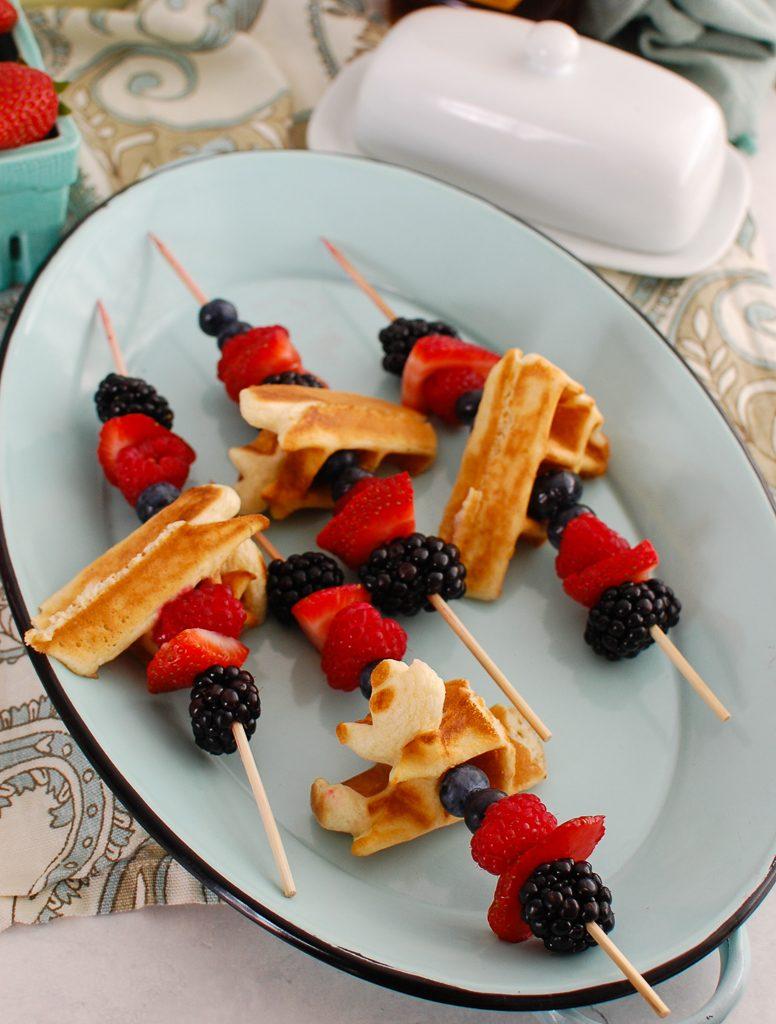Greek Yogurt Waffles on teal platter